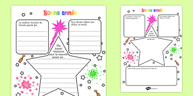 New Year's Resolution Writing Frame French -  EAL, translated, goals, targets