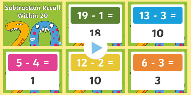Subtraction Recall Within 20 PowerPoint - Mental maths, warm up, revision, subtraction, number bonds, quick recall, random generator, subtract