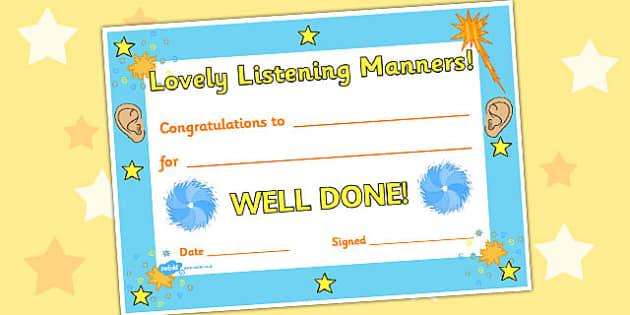 Lovely Listening Award Certificate - awards, certificates, listen