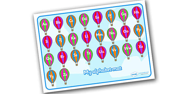 A-Z Alphabet Mat (Phase 1) on Hot Air Balloons - Alphabet Mat, DfES Letters and Sounds, Letters and sounds, Letters A-Z, Learning Letters, Phase one, Phase 1 Foundation Letters, Mnemonic images