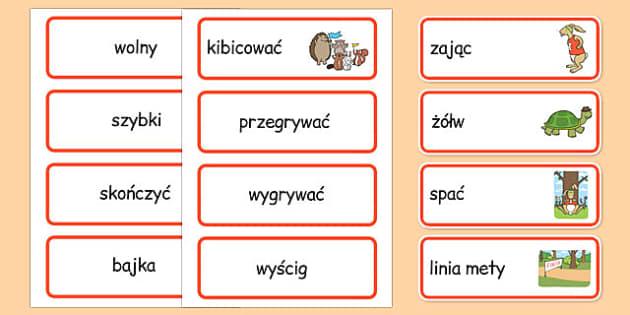 Karty ze słownictwem Zółw i zając po polsku - bajki, baśnie