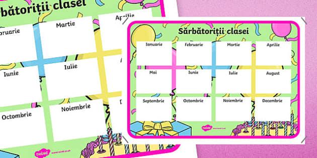Zilele de naștere ale elevilor - Planșă - zi de naștere, zile de naștere, planșă, aniversări, romanian, materiale, materiale didactice, română, romana, material, material didactic