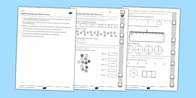 Year 3 Maths Assessment: Fractions Term 3 - year 3, maths, assessment