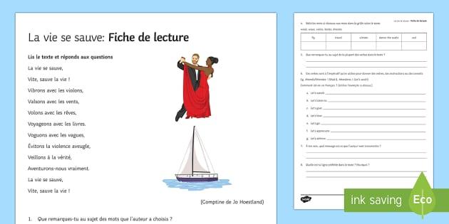 La vie se sauve : Fiche de lecture en français - french, Literature, littérature, lecture, reading
