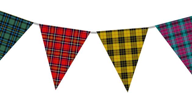 Tartan Display Bunting - bunting, decorations, display, display bunting, tartan bunting, tartan, scotland, scottish bunting, burns night bunting, classroom decorations, for decorating your classroom