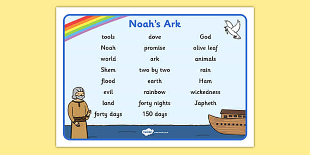 Noah's Ark Word Mat Images - Noah's Ark, word mat, mat, writing aid, images, noah, tools, ark, animals, rain, rainbow, flood, dove, land