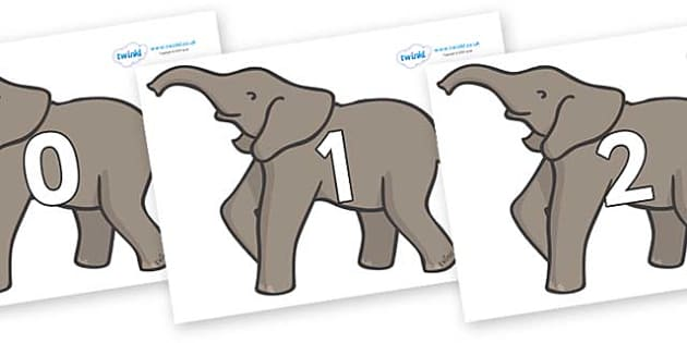 Numbers 0-50 on Elephants - 0-50, foundation stage numeracy, Number recognition, Number flashcards, counting, number frieze, Display numbers, number posters