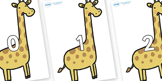 Numbers 0-50 on Giraffes - 0-50, foundation stage numeracy, Number recognition, Number flashcards, counting, number frieze, Display numbers, number posters
