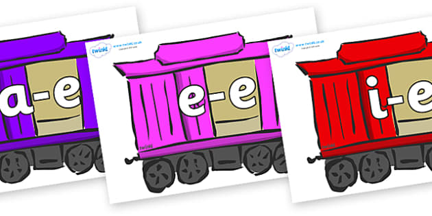 Modifying E Letters on Carriages - Modifying E, letters, modify, Phase 5, Phase five, alternative spellings for phonemes, DfES letters and Sounds