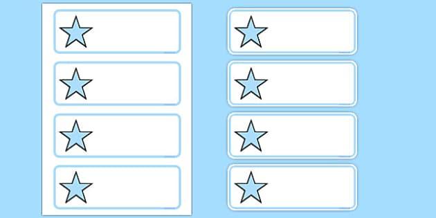 Editable Light Blue Stars Drawer, Peg, Name Labels - Editable Label Templates, star, stars, Resource Labels, Name Labels, Editable Labels, Drawer Labels, Coat Peg Labels, Peg Label, KS1 Labels, Foundation Labels, Foundation Stage Labels, Teaching Lab