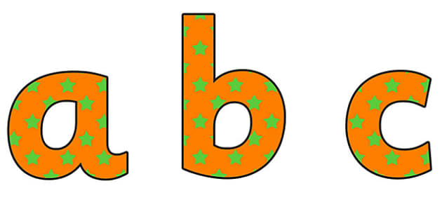 Orange and Green Stars Lowercase Display Lettering - orange and green stars, stars display lettering, lowercase display lettering, display alphabet