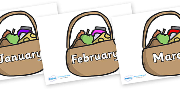 Months of the Year on Baskets - Months of the Year, Months poster, Months display, display, poster, frieze, Months, month, January, February, March, April, May, June, July, August, September