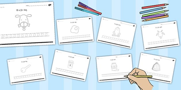 Alphabet Picture and Letter Tracing Uppercase - letters, pictures