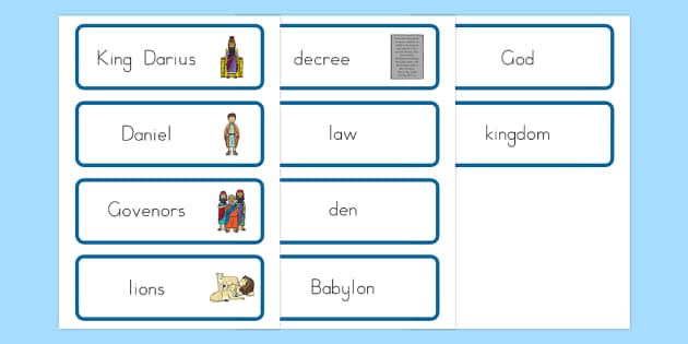 Daniel and the Lion's Den Word Cards - usa, america, Daniel and the Lions, Daniel, Lions, lion pit, word card, flashcards, cards, Babylon, King Darius, governors, God, pray, den, bible story, bible