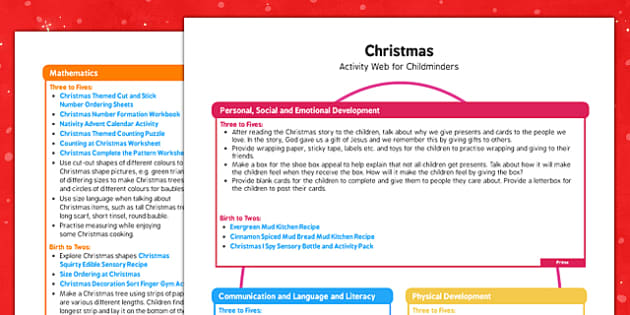 Christmas Activity Web for Childminders - christmas, activity, web, childminders
