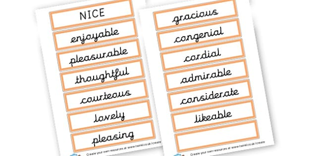 Alternative Words For Nice - Grammar Activity Primary Resources, grammar aids, activities