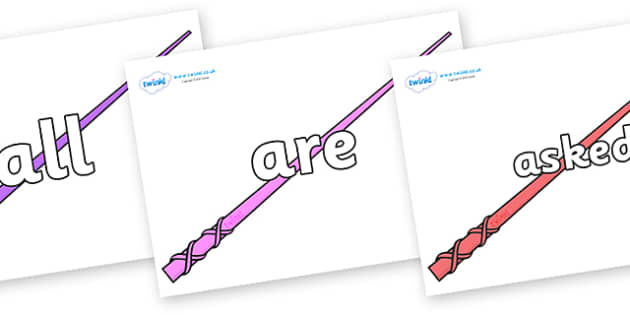Tricky Words on Wands - Tricky words, DfES Letters and Sounds, Letters and sounds, display, words