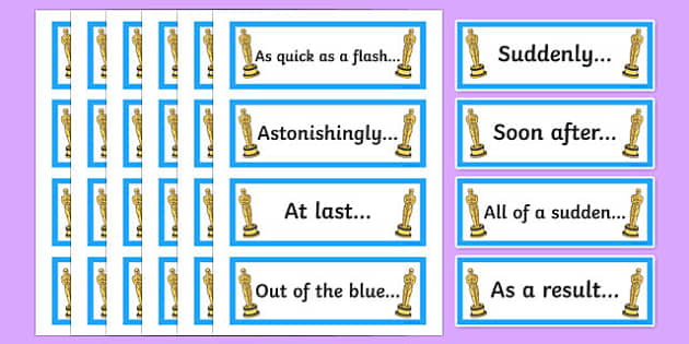Oscar Worthy Openers Word Cards - sentence starters, literacy, spag, big writing, adjectives, adverbs, clauses, ks2,