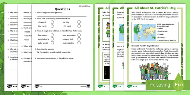 KS1 St. Patrick's Day Differentiated Reading Comprehension