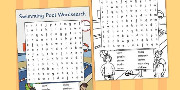 Swimming Pool Wordsearch - swimming pool, wordsearch, words, eal