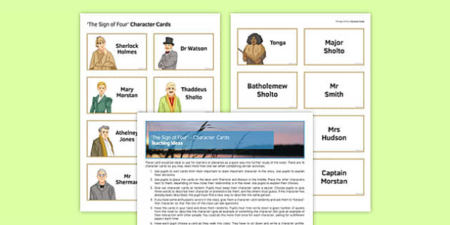 The Sign of Four Character Cards Pack - English Literature, Sign of Four, Sherlock Holmes, Conan Doyle, GCSE, AQA, Reading, Heritage Prose