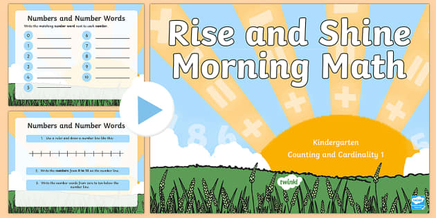 Rise and Shine Kindergarten Morning Math Counting and Cardinality 1 PowerPoint - Morning Work, Kindergarten Math, Counting and Cardinality, Numbers, Number Words