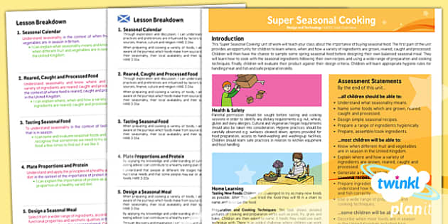 PlanIt - Design and Technology UKS2 - Super Seasonal Cooking Planning Overview CfE - planit, overview, cfe