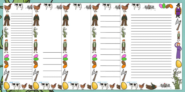 Jack and the Beanstalk Full Page Border - page border, border, frame, writing frame, writing template, jack and the beanstalk, jack and the beanstalk page borders, writing aid, writing, A4 page, page edge, writing activities, lined page, lined pages,