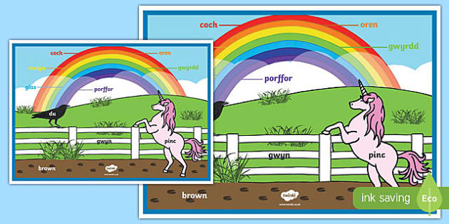 Rainbow Colours Welsh A2 Display Poster