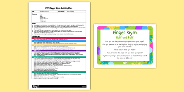 EYFS Huff and Puff Finger Gym Plan and Prompt Card Pack