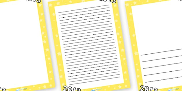 2013 Page Borders - page border, border, frame, writing frame, 2013, next year, new year, 2013 writing frames, writing template, writing aid, writing, A4 page, page edge, writing activities, lined page, lined pages