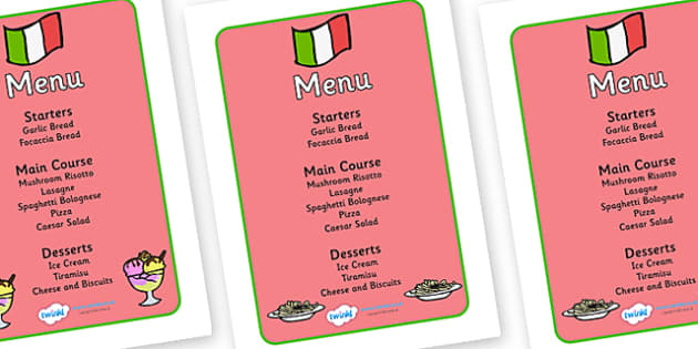 Italian Restaurant Role Play Display Banner - Italian restaurant, role play, menu, pasta, lasagne, food, Italian culture, Italy, spaghetti, menu
