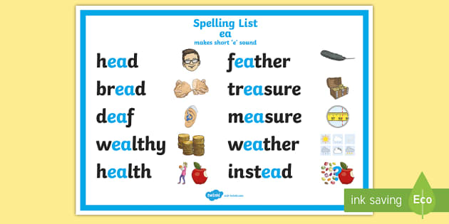 Worksheets Ea Words List spelling ea words short e display poster cfe outdoor learning nature