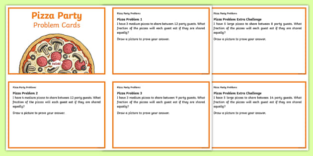 Fractions and Division Pizza Party Challenge Cards - Y4 Multiplication and Division Planit Maths, multiply, groups of, lots of, product, times, sets of,