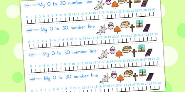 Easter Number Line 0 30 - easter, numeracy, number line, 0-10