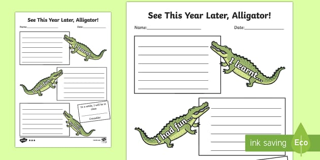 End of Year Crocodile Themed Activity Sheet