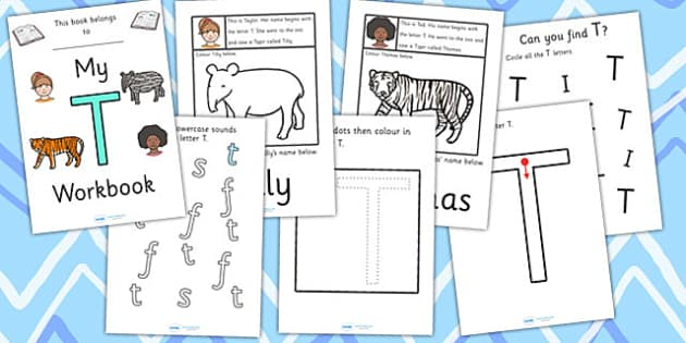 My Workbook T uppercase - education, home school, child development, children activities, free, kids, worksheets, how to write, literacy