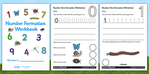 Number Formation Workbook (Minibeasts) - Handwriting, minibeasts, number formation, number writing practice, workbook, foundation, numbers, foundation stage numeracy, writing, learning to write, knowledge and understanding of the world, investigation