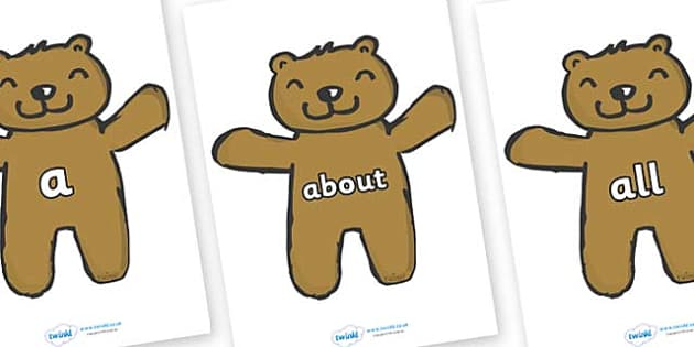 100 High Frequency Words on Teddy Bears - High frequency words, hfw, DfES Letters and Sounds, Letters and Sounds, display words