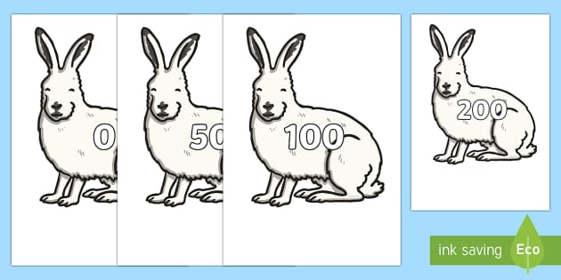 Counting in 10s on Hares - counting, count, 10s, hares, animals, numbers, maths, mathematics