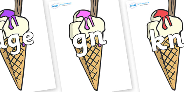 Silent Letters on Ice Cream Cones to Support Teaching on The Very Hungry Caterpillar - Silent Letters, silent letter, letter blend, consonant, consonants, digraph, trigraph, A-Z letters, literacy, alphabet, letters, alternative sounds