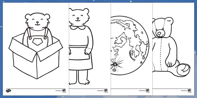 Colouring Sheets to Support Teaching on Whatever Next! - Whatever Next!, Jill Murphy,  resources, space, baby bear, Large family, rocket, moon, owl, story, story book, story book resources, story sequencing, story resources, Colouring Sheets, colouri