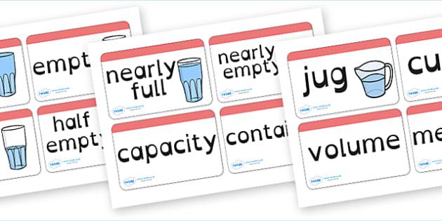 Capacity Word Cards Dyslexia - capacity word cards in dyslexia font, capacity flash cards in dyslexia font, capacity words sen font, maths capacity words