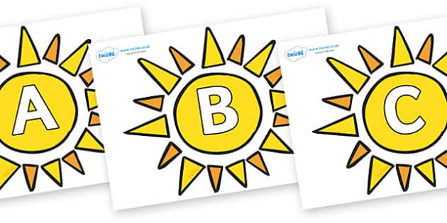 A-Z Alphabet on Sun - A-Z, A4, display, Alphabet frieze, Display letters, Letter posters, A-Z letters, Alphabet flashcards