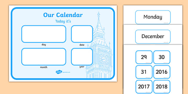English Calendar - english, london, capital city, calendar, days of the week, months of the year