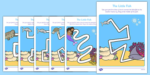 The Little Fish Pencil Control Path Activity Sheet Pack - Tiddler, fish, sea, under the sea, water, ocean, story, storybook, eyfs, early years, ks1, fine, motor, skills, control, drawing, writing, formation, handwriting, pd, physical development, wor
