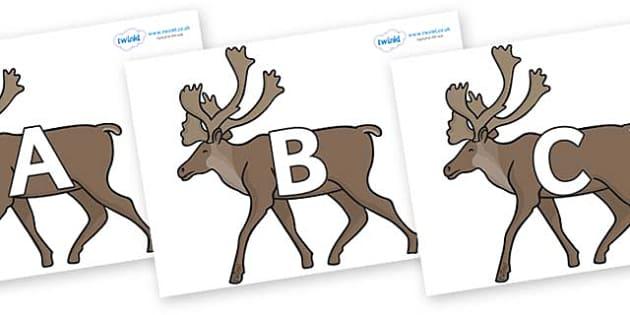 A-Z Alphabet on Caribous - A-Z, A4, display, Alphabet frieze, Display letters, Letter posters, A-Z letters, Alphabet flashcards