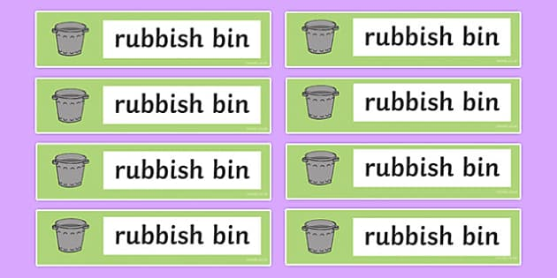 Rubbish Bin Labels