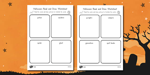 Halloween Read and Draw Worksheet - reading, art, colouring, recording, inferring, topics, autumn, october, activity, early years, ks1, ks2, independent