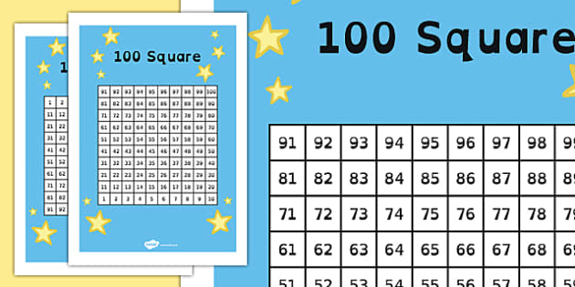 100 Square (Hundred Square) - Number square, hundred square